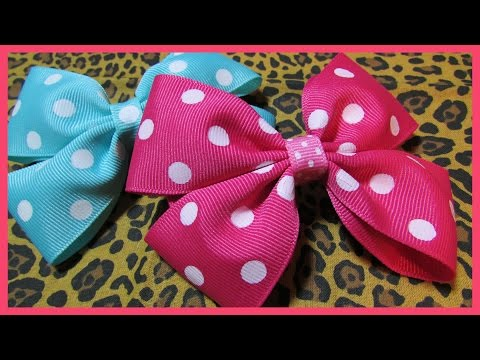 DIY - How to make Hair Bows No.2 - Free Hair Bow Tutorial - Boutique Style - with subtitles