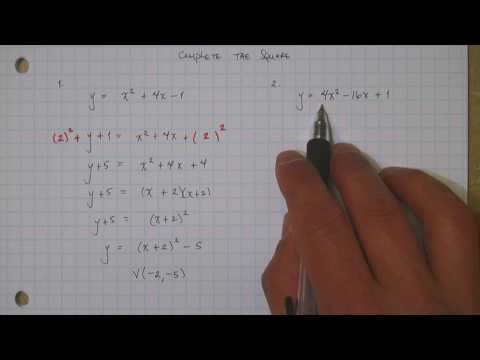 Quadratic in Vertex Form by Completing the Square