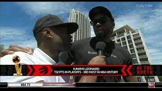 Kawhi Leonard celebrate on The Raptors 2019 NBA Championship Parade 1st in team history