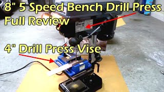 "Central Machinery 8"" Bench Drill Press & 4"" Drill Press Vise"