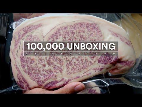100,000 UNBOXING Celebration Box - STEAK UNBOXING!