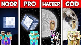 Minecraft NOOB vs PRO vs HACKER vs GOD : FAMILY MOON BASE in Minecraft! Animation