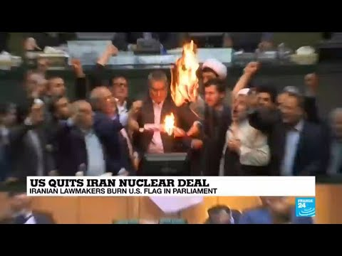 US quits nuclear deal: Iranian lawmakers burn American flag in parliament