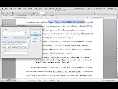 Create a Table of Authorities in Word for mac 2011, Part 1