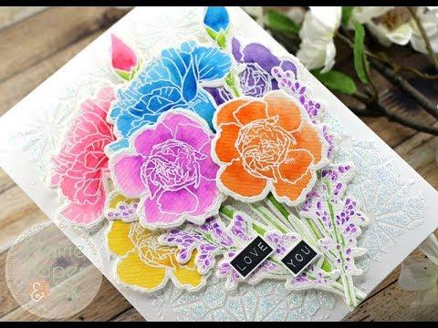 WaffleFlower Rainbow Carnations Card