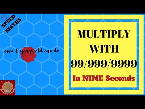 VEDIC MATHS : How to multiply with 99/999/9999   Speed Maths   Maths for 7 years old   Class 2 Maths