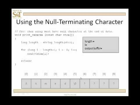 C++ Lesson 13.0 - Null - Terminated Character Arrays
