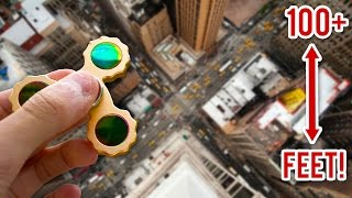 $1,000,000 FIDGET SPINNER VS 100FT DROP EXPERIMENT!! (Will It Survive?)