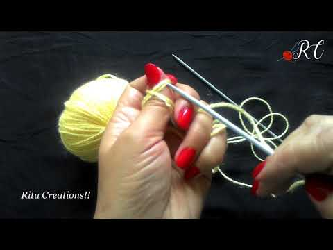 Beginners How to cast on in Easy Hindi Knitting  (फंदे  कैसे  डाले  )