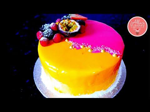Mango & Passion Fruit Mousse Cake Recipe   Mirror Glaze   Торт Экзотик (Манго-маракуйя)