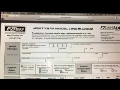 Como llenar la aplicación EZpass en Massachusetts online
