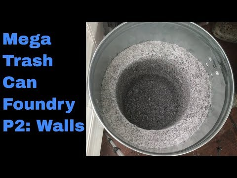How to Make a Mega Trash Can Foundry at home P2, walls with Perlite refractory foundry cement recipe