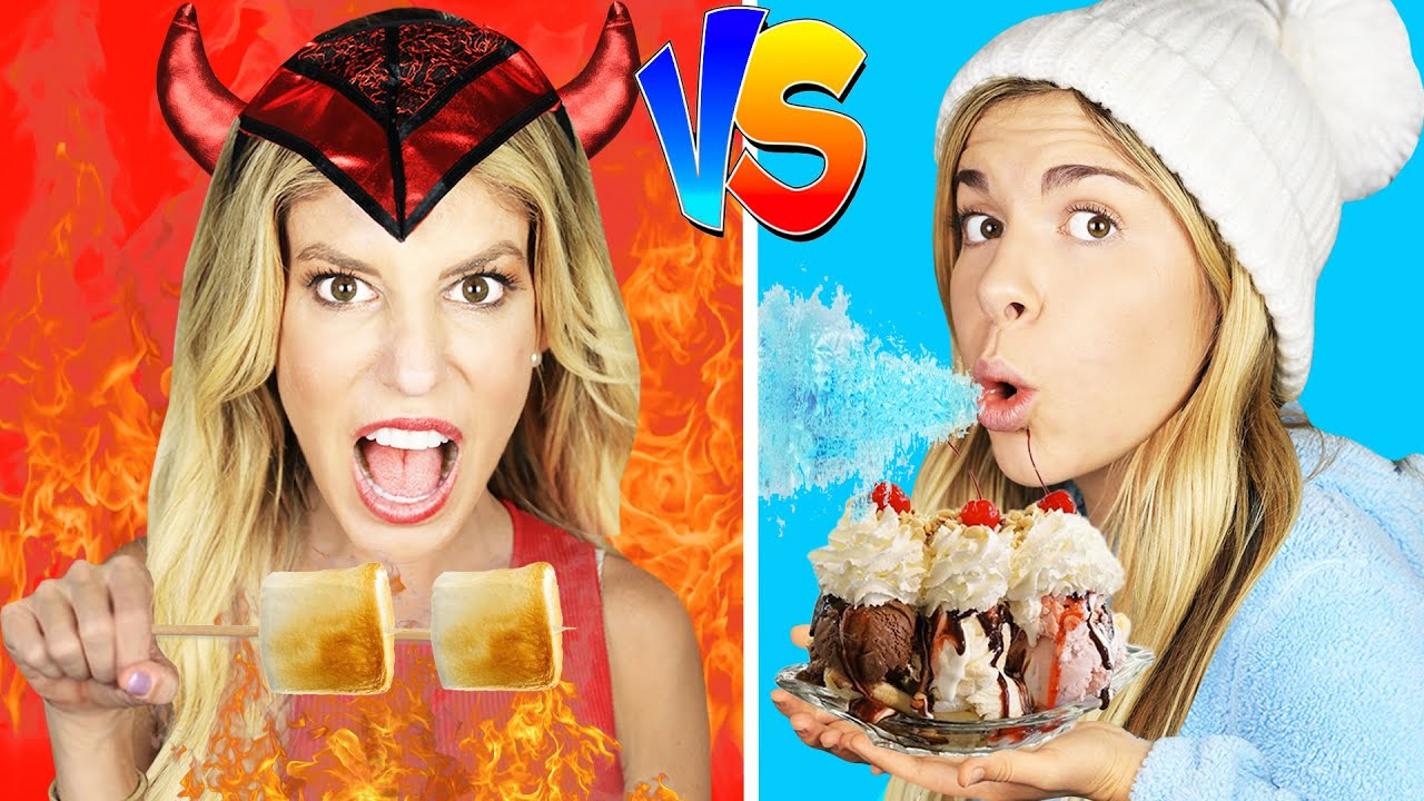 Hot vs Cold Food Challenge / Girl on Fire VS Ice Girl!  Rebecca Maddie Challenges