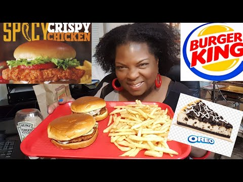 Mukbang/Burger King Spicy Chicken Sandwiches & Oreo Cheesecake(I sing at end) Ode to Oreo!