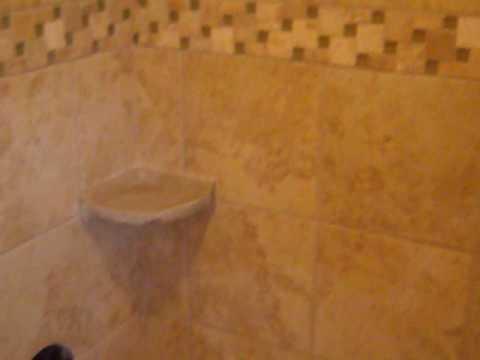 travertine & glass tiled shower