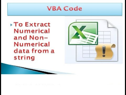 VBA code to extract numeric and non-numeric values from string