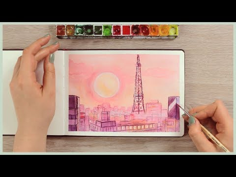 How to Paint a Sunset City Skyline with Watercolors   Art Journal Thursday Ep. 38