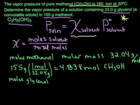 Calculating Vapor Pressure using Raoult's Law (nonvolatile solute)