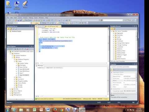 BULK INSERT USING MICROSOFT SQL SERVER 2014 MANAGEMENT STUDIO