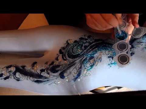 Glittering design water tattoo leotard blues clip
