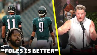 Pat McAfee Reacts To Michael Bennett saying Nick Foles Is Better Than Carson Wentz