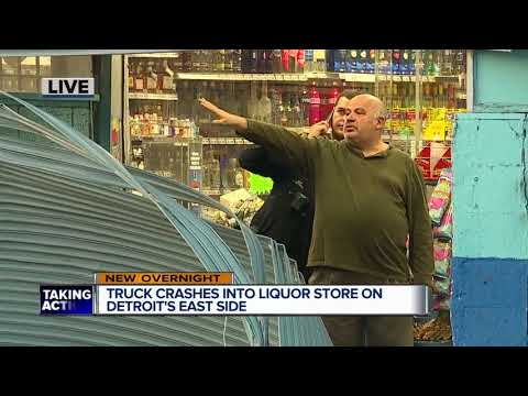 Truck crashes into liquor store on Detroit's east side