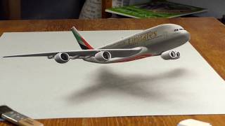 3D Painting of an Emirates A380   Emirates Airline