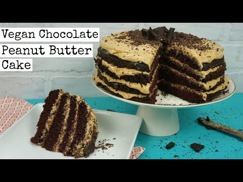Chocolate Peanut Butter Buttercream Cake | VEGAN