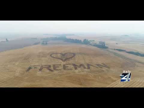 Farmer uses tractor to honor Freeman