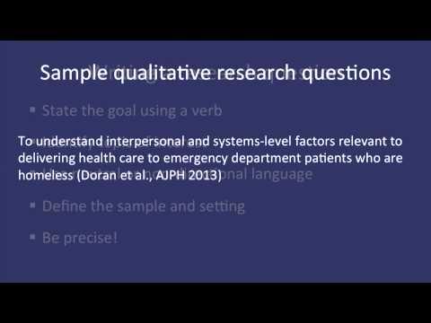 Fundamentals of Qualitative Research Methods: Developing a Qualitative Research Question (Module 2)