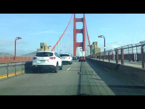 Drive to Sausalito across Golden Gate Bridge from San Francisco, California