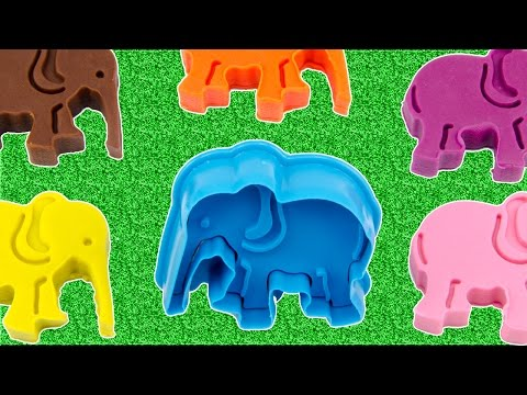 Play Doh Learning Videos For Kids With Elephant And Tiger Molds Creative Fun