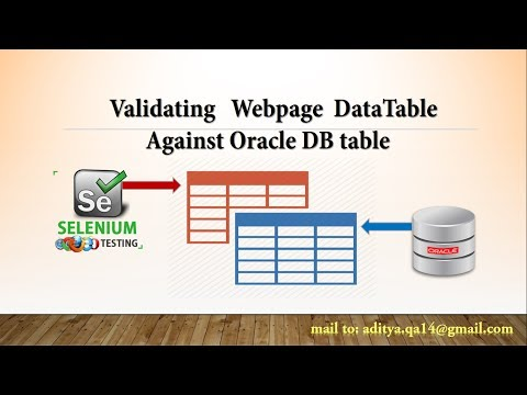 DataBase testing using Oracle DataBase in Selenium WebDriver