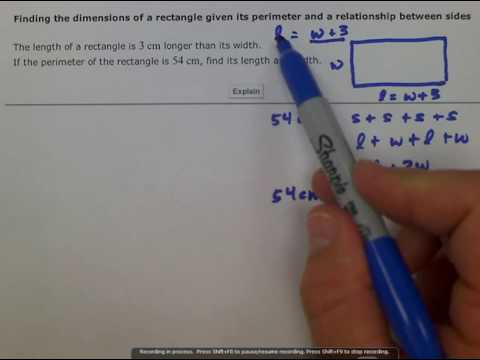ALEKS: Finding the dimensions of a rectangle given its perimeter and a relationship btwn sides (MC)