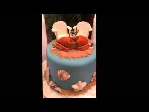 Joyce Gourmet: Beach Theme Birthday Cake! Lounge chairs wine towels flip flops shells sand fence
