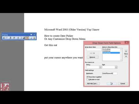 Microsoft Word 2003 | How To Create a Date Picker or Drop Down Menu