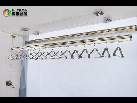 how to install ceiling mounted manual lifting clothes drying rack