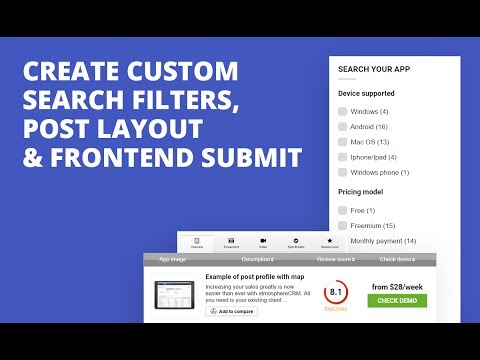 Create Custom  Search Filters,  Post Layout & Frontend Submit in Wordpress and Rehub