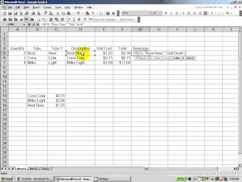 Excel 2003:  How to use the IF and nested IF Functions