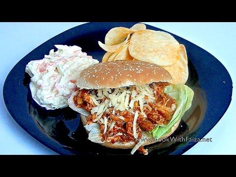 PULLED CHICKEN SANDWICH - پولڈ چکن سینڈوچ - पोलड चिकन सैंडविच  *COOK WITH