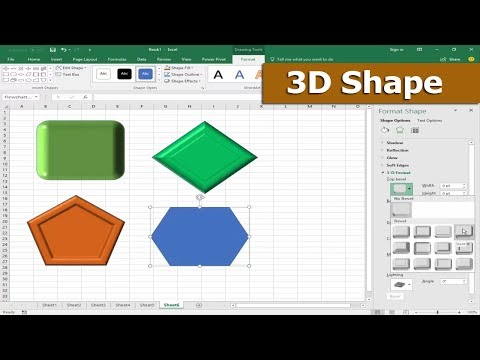 Excel Tutorial- How to Draw or Insert 3D Shape in Microsoft Excel 2017