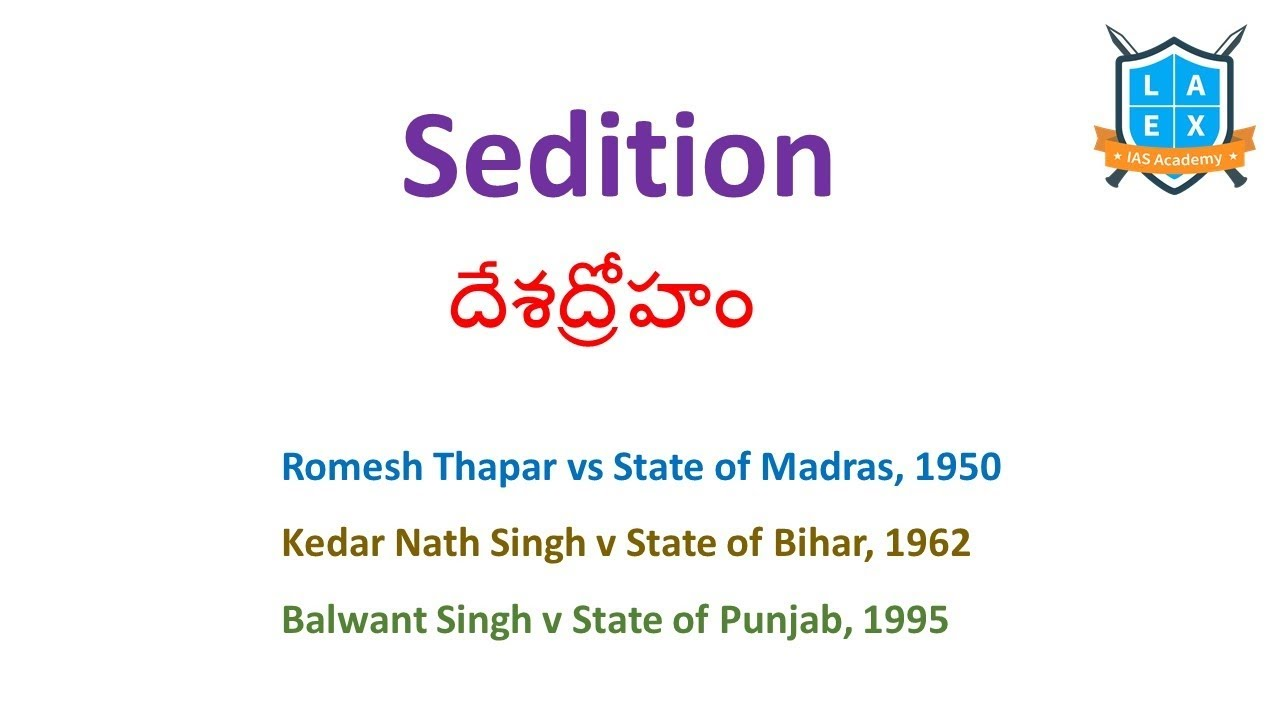 Sedition Issue Explained |Polity Value Addition ||Mana La Excellence || Civils Coaching in Hyderabad