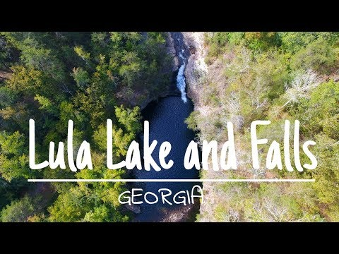 Lula Lake and Falls Hiking Trail On Lookout Mountain Georgia Drone Footage