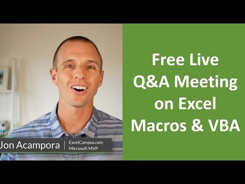 Free Live Q&A Meeting on Excel Macros & VBA