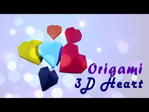 Origami 3D Paper ♥︎ Heart ♥︎ - Valentine's Day Craft - Inflatable Heart - 3D love Instructions - DIY