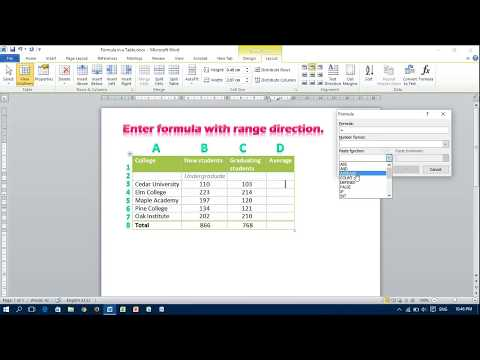 Insert a Formula in a Table Cell - MS Word
