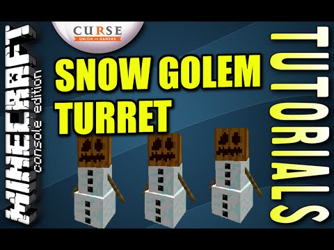 MINECRAFT - PS4 - SNOW GOLEM TURRET - HOW TO - TUTORIAL ( PS3 / XBOX /PC )  UPDATE