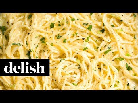Creamy Three-Cheese Spaghetti | Delish