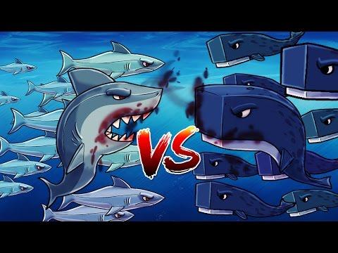 Minecraft   101 SHARKS VS 101 WHALES! (Shark Attack Massive Mob Battle)