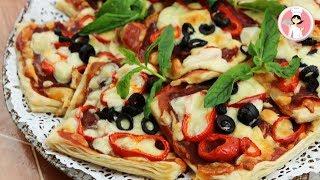 بيتزا السريعة السهلة بيتزا بالعجين المورق Fast Pizza مع رباح محمد ( الحلقة 516 )